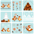 Christmas icons with birds — Imagen vectorial