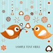 Birds with flowers — Vector de stock