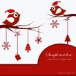 Christmas Card with Birds — Imagen vectorial