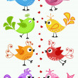 Stock Vector: Colorful birds in situation