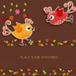 Birds with flowers — Imagen vectorial