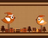 Christmas Card with Birds — Stock Vector