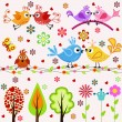 Set. Birds, trees and flowers — Stock Vector