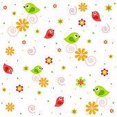 çiçekler ve kuşlar ile örnek dokular — Stok Vektör