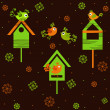 Birds with birdhouses — Vector de stock