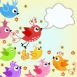Colorful, flying birds — Vector de stock #12094365