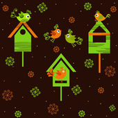 Birds with birdhouses — Stock Vector