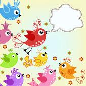 красочные, летающих птиц — Cтоковый вектор