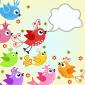 Colorful, flying birds — Vector de stock