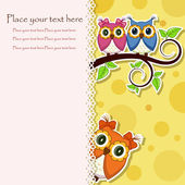 Postcard from the owls on a branch — Stock Vector