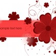 Beautiful abstract background with red flowers — Stock Vector