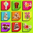 Nine stickers on his birthday — Imagen vectorial