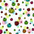 Beautiful, colorful ladybugs — Stok Vektör