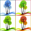 Four icons with trees. Summer, fall, winter, spring. — Векторная иллюстрация