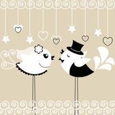 Bird's wedding — Vettoriale Stock