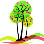 Blooming spring tree — Stock Vector