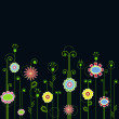 Multicolored flowers on a blue background — Vector de stock