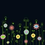 fiori multicolori su fondo blu — Vettoriale Stock