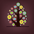 Beautiful vector tree with flowers — Stock Vector