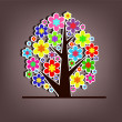 Beautiful vector tree with flowers — Imagen vectorial