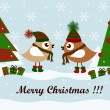 Christmas card with birds and gifts — Imagens vectoriais em stock