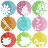 9 colorful icons with nature elements — Stock Vector