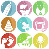 Nine icons with baby clothes — Stock Vector
