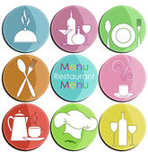 Nine icons with elements of kitchen accessories — Stock Vector