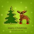 Beautiful Christmas card with a deer — Stock Vector