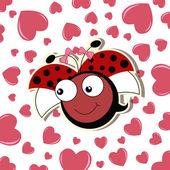 Pretty cute ladybug girl — Stock Vector