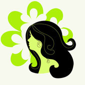Silhouette of a girl on the floral background — Stock Vector