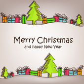 与多彩圣诞树和礼物的圣诞贺卡 — 图库矢量图片