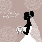 Beautiful bride with lace on a gray background — Vecteur
