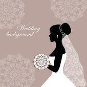Belle mariée avec dentelle sur fond gris — Vecteur