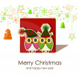Stok Vektör: Christmas card with owls