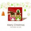Christmas card with owls — Vector de stock #13605925