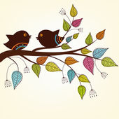 Beautiful two birds on a branch with variegated leaves — Stock Vector
