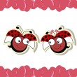 Two ladybugs in love with hearts — Stock Vector