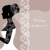 Beautiful bride with lace on a gray background — Vector de stock