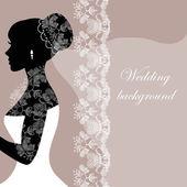 灰色の背景にレース付きの美しい花嫁 — ストックベクタ