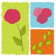 Stock Vector: Three icons of roses