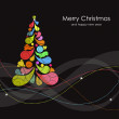 Christmas card with multicolored tree — Stockvectorbeeld