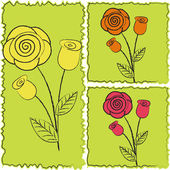 Three icons of roses — Stock Vector