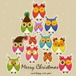 Christmas card with owls — Vector de stock