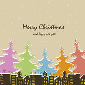 Christmas. Houses and trees in snow — Stock Vector