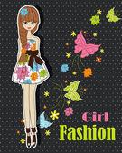 Beautiful summer, fashionable girl — Stock Vector