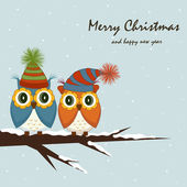 圣诞卡片。在树上的猫头鹰 — 图库矢量图片
