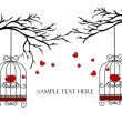Two lovers birds in cages on the branches — Vector de stock