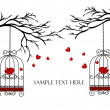 Two lovers birds in cages on the branches — Stock Vector