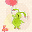 Beautiful toy bunny with hearts — Imagen vectorial